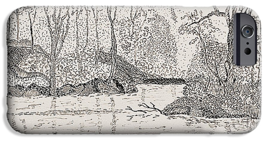 River IPhone 6 Case featuring the drawing Ausable River At Rock Glen by Peggy King