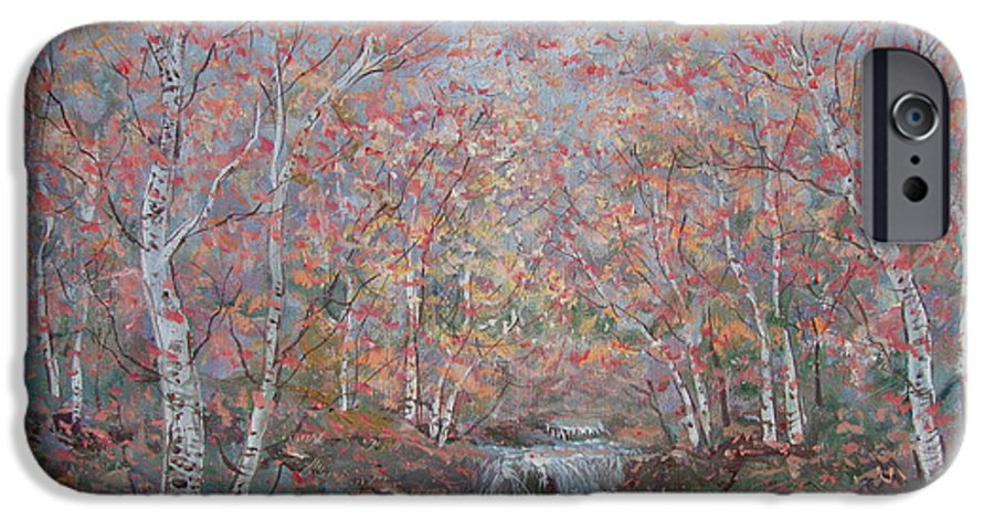 Landscape IPhone 6 Case featuring the painting Autumn Birch Trees. by Leonard Holland