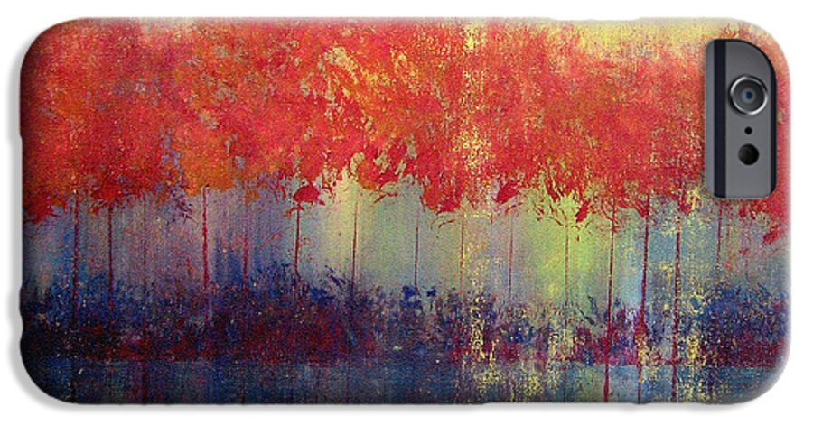 Abstract IPhone 6 Case featuring the painting Autumn Bleed by Ruth Palmer
