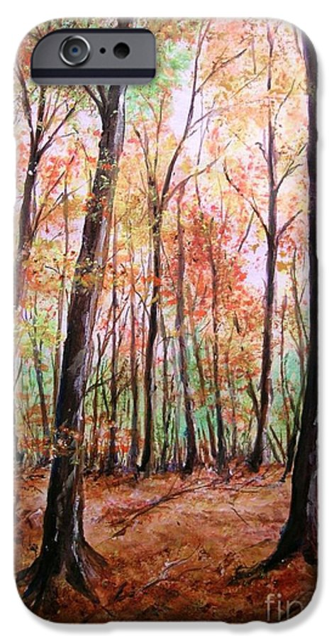 Landscape IPhone 6 Case featuring the painting Autumn Forrest by Lizzy Forrester