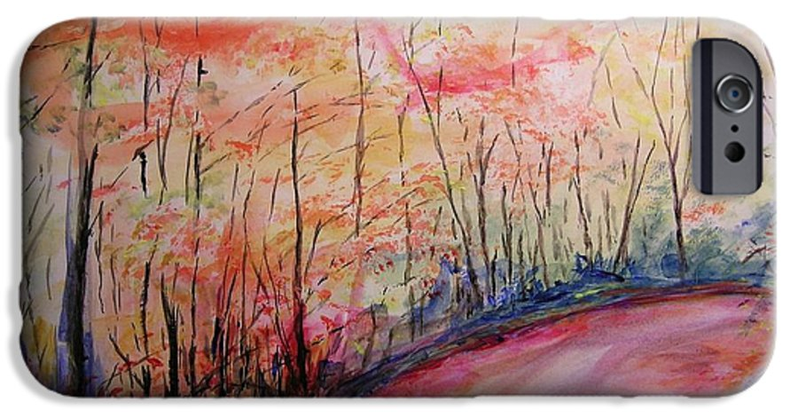 Landsape IPhone 6 Case featuring the painting Autumn Lane II by Lizzy Forrester