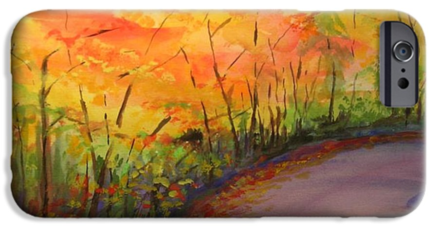 Original Landscape Impressionist Painting IPhone 6 Case featuring the painting Autumn Lane IIi by Lizzy Forrester