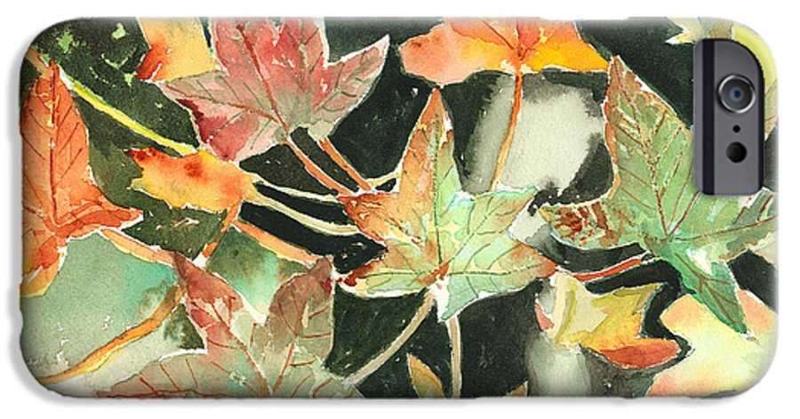 Leaf IPhone 6 Case featuring the painting Autumn Leaves by Arline Wagner