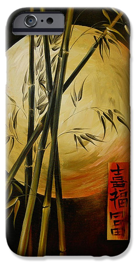 Asian Moon Bamboo IPhone 6 Case featuring the painting Autumn Moon by Dina Dargo