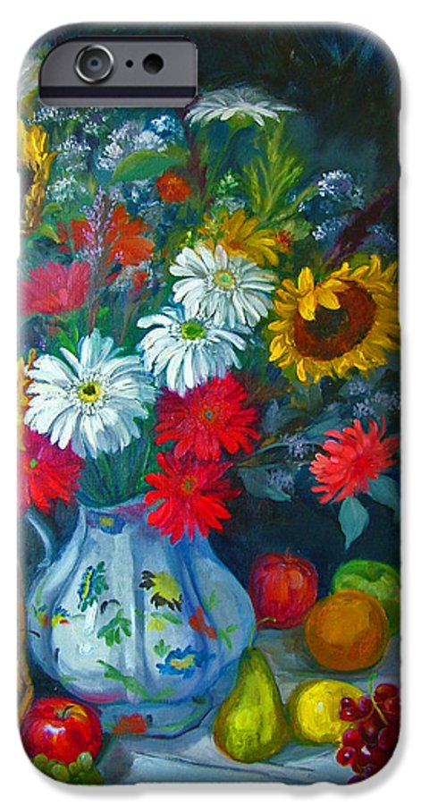 Fruit And Many Colored Flowers In Masson Ironstone Pitcher. A Large Still Life. IPhone 6 Case featuring the painting Autumn Picnic by Nancy Paris Pruden