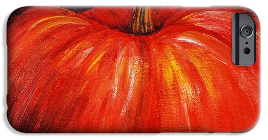 Orange IPhone 6 Case featuring the painting Autumn Pumpkins by Nadine Rippelmeyer