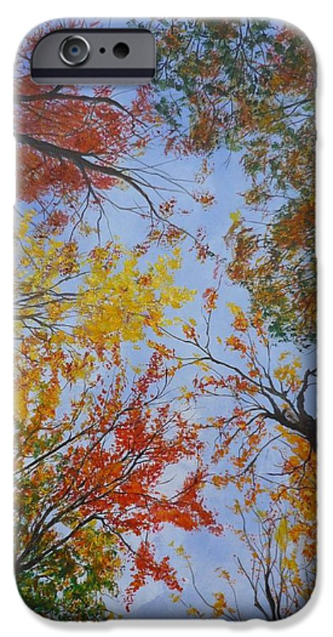 Tree IPhone 6 Case featuring the painting Autumn Sky by Lizzy Forrester