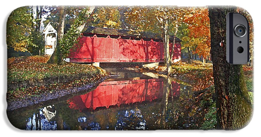 Covered Bridge IPhone 6 Case featuring the photograph Autumn Sunrise Bridge by Margie Wildblood