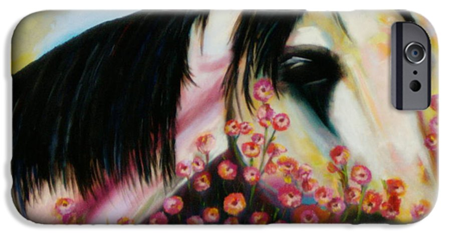 Horse IPhone 6 Case featuring the painting Avalon's Rose by Sidra Myers