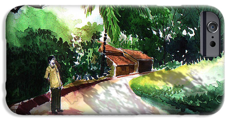 Water Color Watercolor Landscape Greenery IPhone 6 Case featuring the painting Awe by Anil Nene