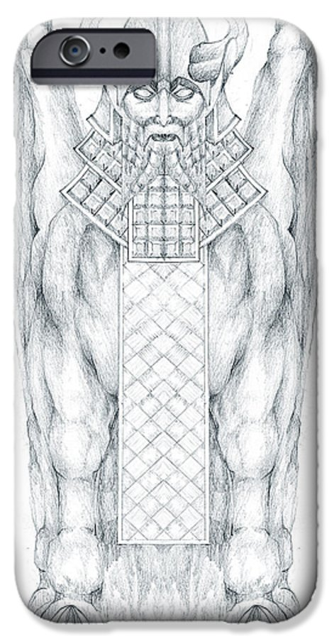 Babylonian IPhone 6 Case featuring the drawing Babylonian Sphinx Lamassu by Curtiss Shaffer