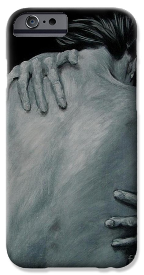 Nude IPhone 6 Case featuring the painting Back Of Naked Woman by Jindra Noewi