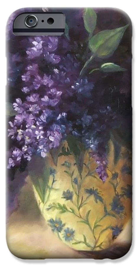 Lilac Still Life IPhone 6 Case featuring the painting Backlit Bouquet by Ruth Stromswold