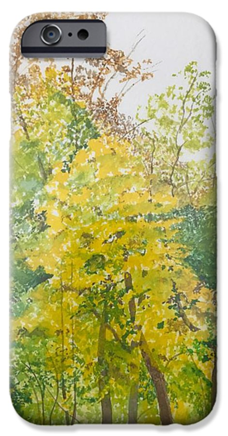 Autumn IPhone 6 Case featuring the painting Backyard by Leah Tomaino