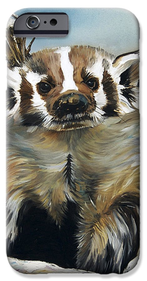 Southwest Art IPhone 6 Case featuring the painting Badger - Guardian Of The South by J W Baker