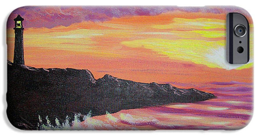 Seascape IPhone 6 Case featuring the painting Bahia At Sunset by Marco Morales