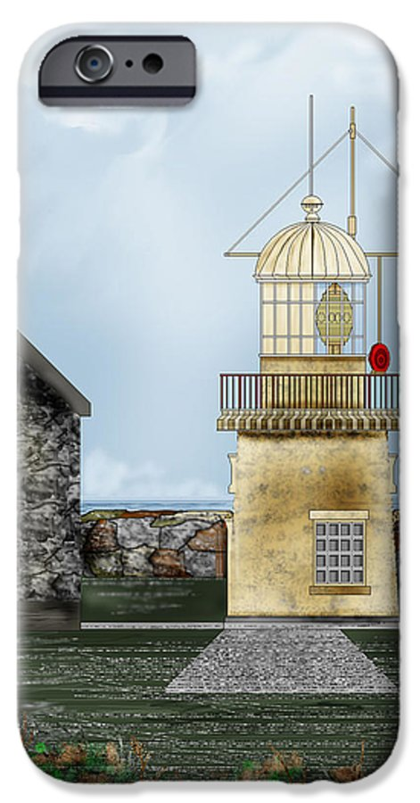 Lighthouse IPhone 6 Case featuring the painting Ballinacourty Lighthouse At Waterford Ireland by Anne Norskog