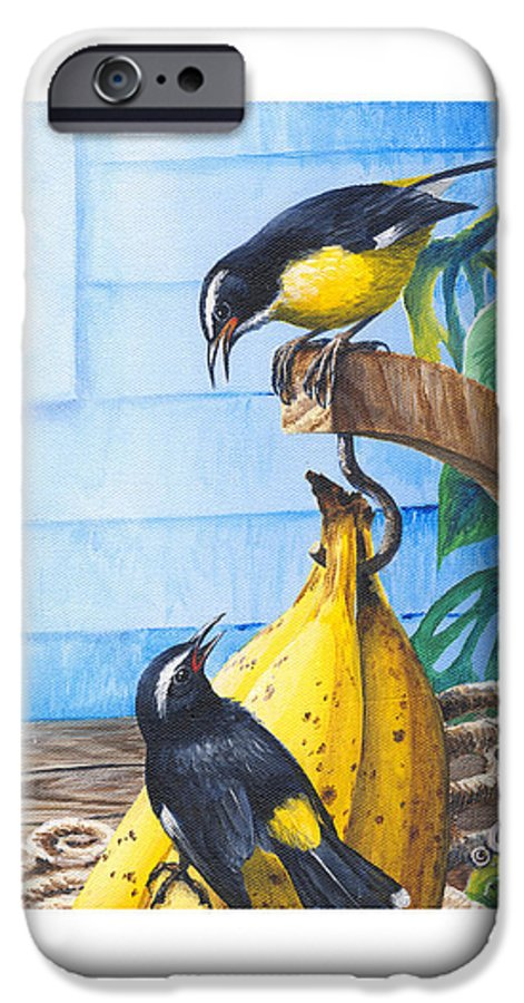 Chris Cox IPhone 6 Case featuring the painting Bananaquits And Bananas by Christopher Cox