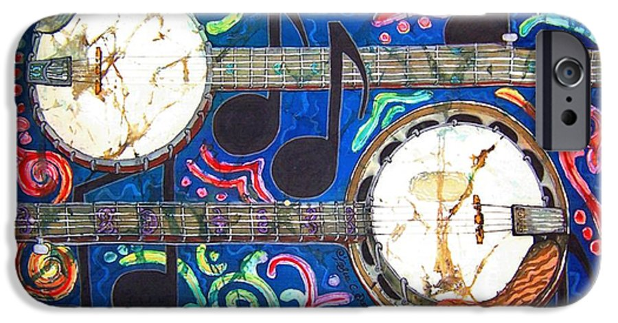 Banjo IPhone 6 Case featuring the painting Banjos - Bordered by Sue Duda