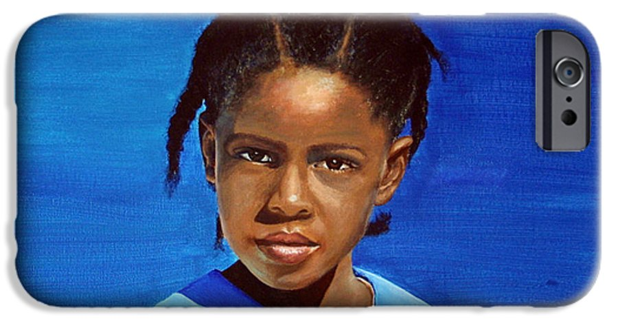 Portrait IPhone 6 Case featuring the painting Barbuda School Girl by Fiona Jack