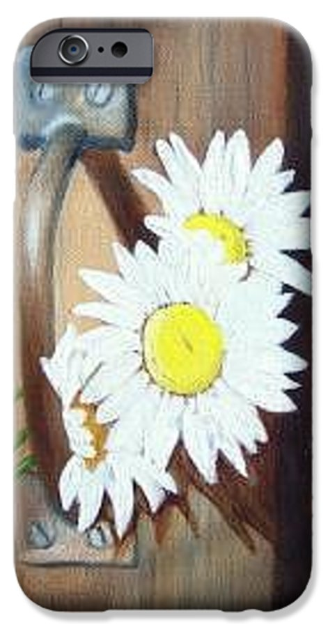 Rustic Barn Door With Metal Latch And Three White Daisies IPhone 6 Case featuring the painting Barn Door Daisies Sold by Susan Dehlinger