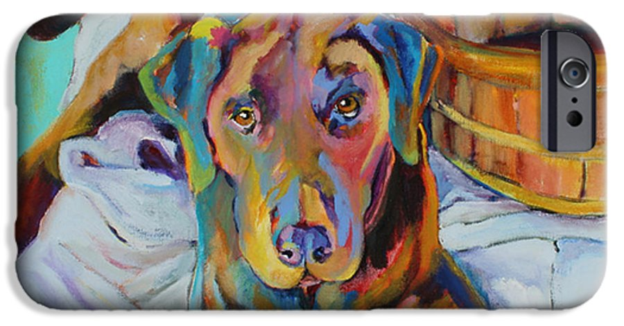 Chocolate Lab IPhone 6 Case featuring the painting Basket Retriever by Pat Saunders-White