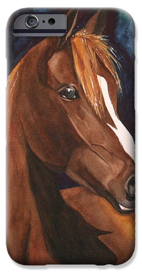 Horse IPhone 6 Case featuring the painting Bay On Blue 2 by Jean Blackmer