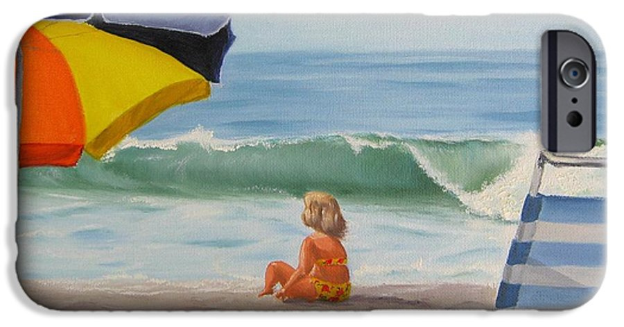 Seascape IPhone 6 Case featuring the painting Beach Scene - Childhood by Lea Novak