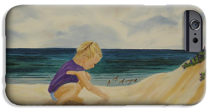 Child IPhone 6 Case featuring the painting Beachcomber by Susan Kubes