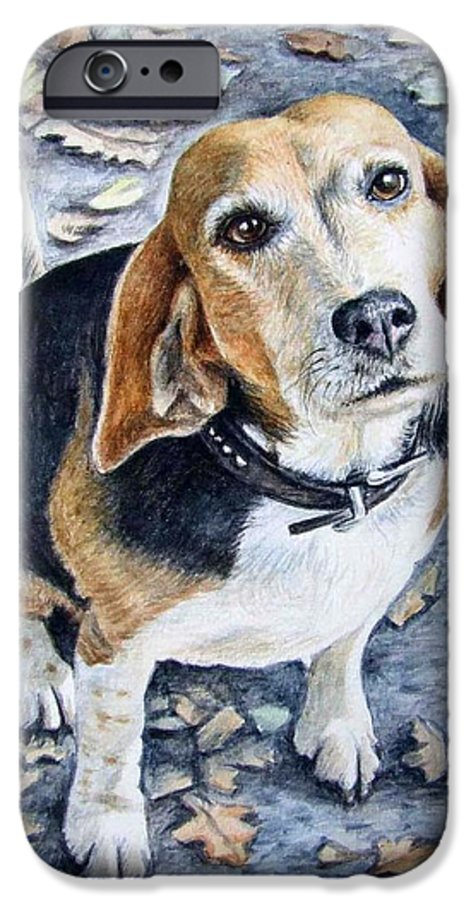 Dog IPhone 6 Case featuring the painting Beagle Nanni by Nicole Zeug