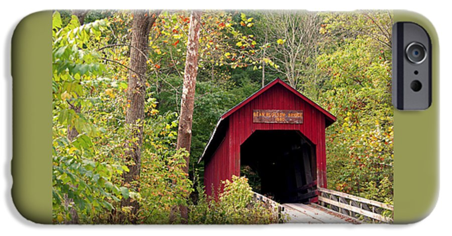 Covered Bridge IPhone 6 Case featuring the photograph Bean Blossom Bridge II by Margie Wildblood