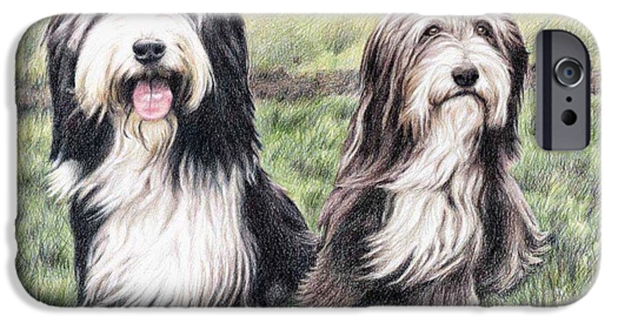 Dogs IPhone 6 Case featuring the drawing Bearded Collies by Nicole Zeug