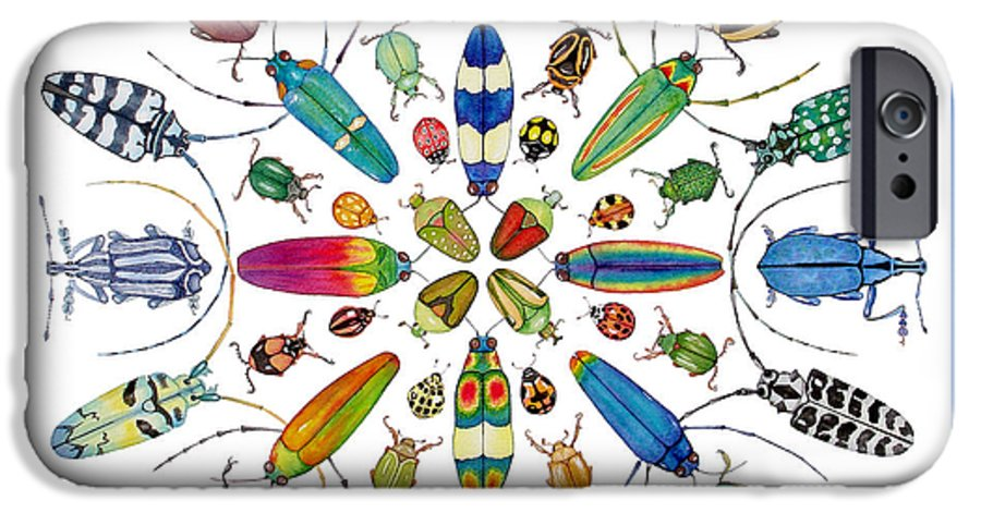 Insects IPhone 6 Case featuring the painting Beautiful Beetles by Lucy Arnold