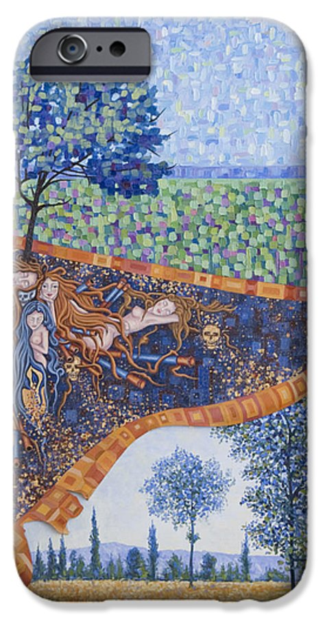 Canvas IPhone 6 Case featuring the painting Behind The Canvas by Judy Henninger
