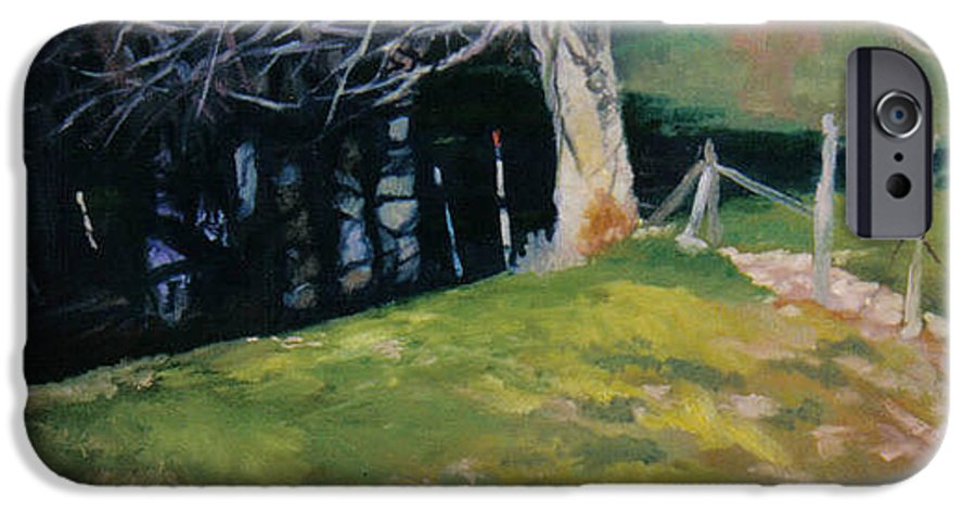 Landscape IPhone 6 Case featuring the painting Behind The Leve by John L Campbell