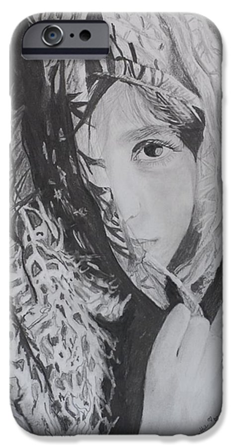 Graphite IPhone 6 Case featuring the drawing Behind The Veil by Quwatha Valentine