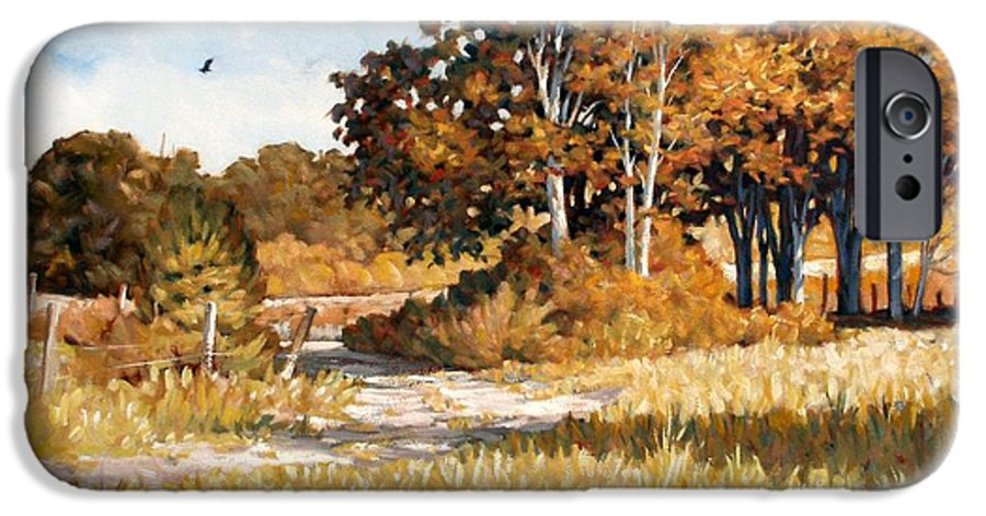 Landscape IPhone 6 Case featuring the painting Bend In The Road by Kevin Lawrence Leveque