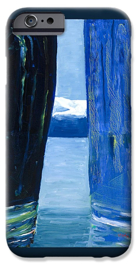 Landscape IPhone 6 Case featuring the painting Between Two Mountains. by Jarle Rosseland