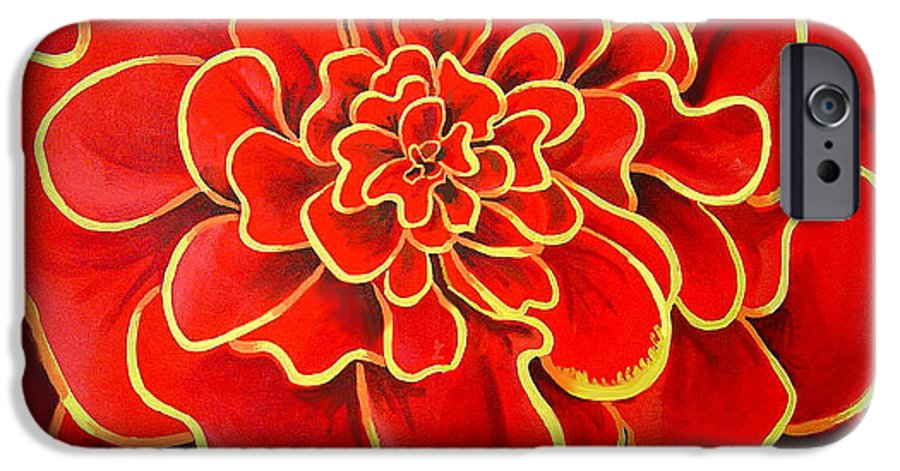 Diptych IPhone 6 Case featuring the painting Big Red Flower by Geoff Greene