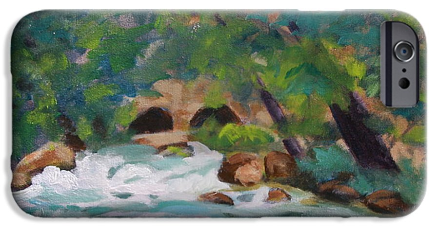 Impressionistic IPhone 6 Case featuring the painting Big Spring On The Current River by Jan Bennicoff