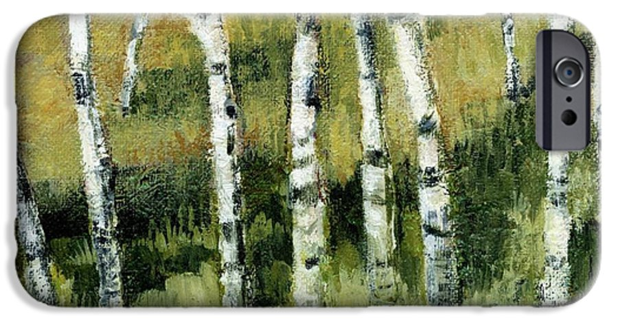 Trees IPhone 6 Case featuring the painting Birches On A Hill by Michelle Calkins