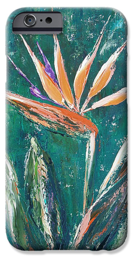 Bird Of Paradise IPhone 6 Case featuring the painting Bird Of Paradise by Gina De Gorna