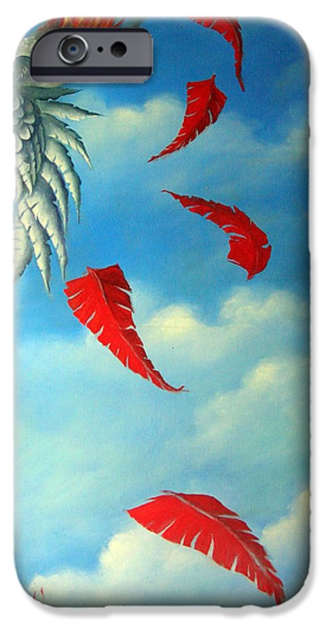 Surreal IPhone 6 Case featuring the painting Bird On Fire by Valerie Vescovi