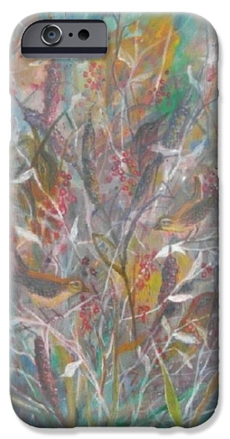 Birds IPhone 6 Case featuring the painting Birds In A Bush by Ben Kiger