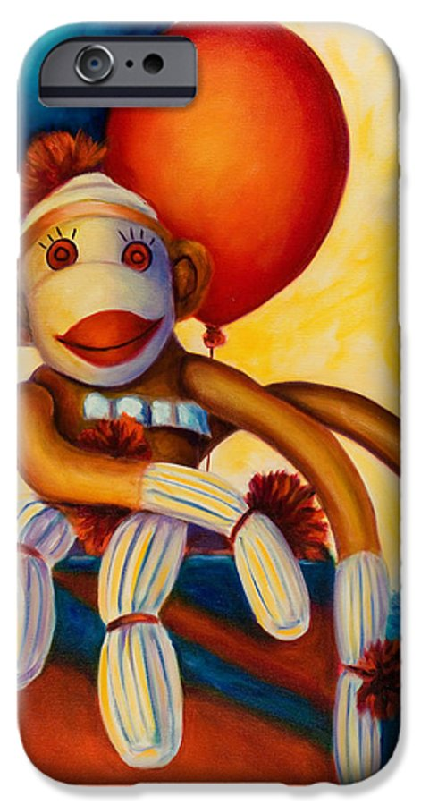 Sock Monkey Brown IPhone 6 Case featuring the painting Birthday Made Of Sockies by Shannon Grissom