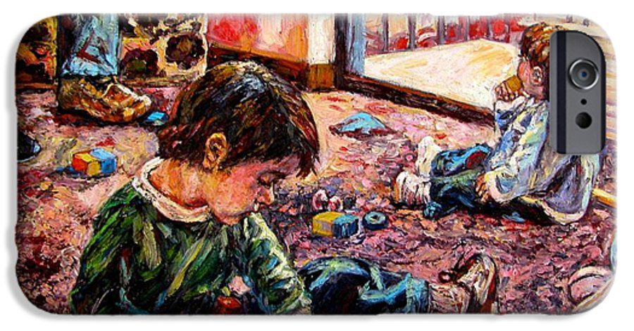 Figure IPhone 6 Case featuring the painting Birthday Party Or A Childs View by Kendall Kessler