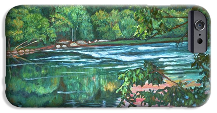 River IPhone 6 Case featuring the painting Bisset Park Rapids by Kendall Kessler