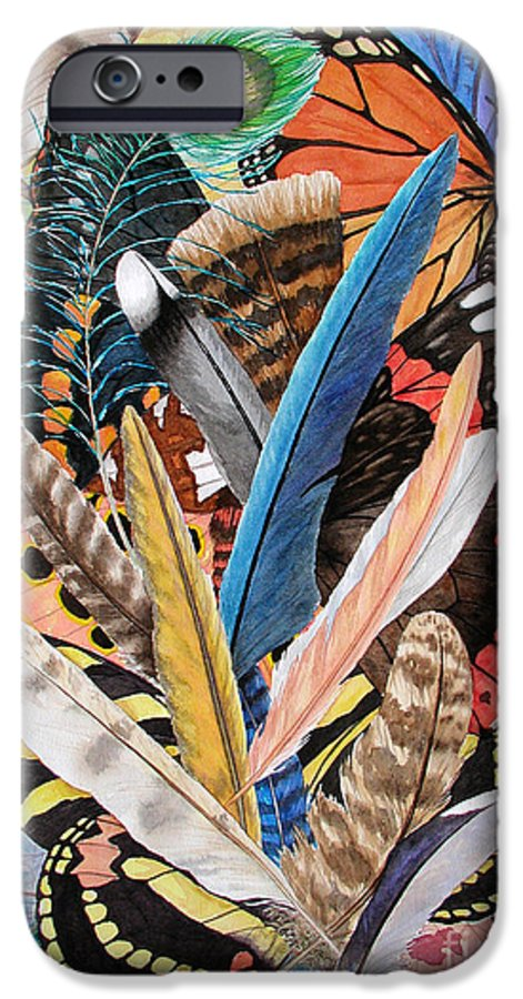 Feathers IPhone 6 Case featuring the painting Bits Of Flight by Lucy Arnold