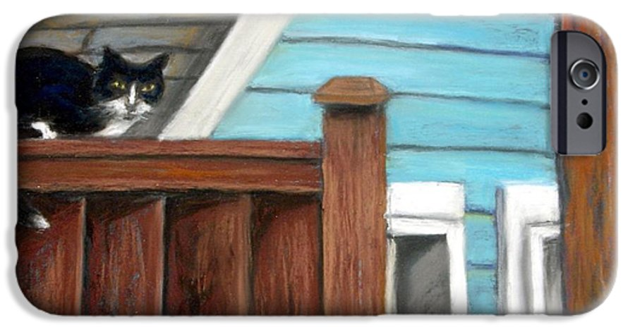 Cat IPhone 6 Case featuring the painting Black Alley Cat by Minaz Jantz