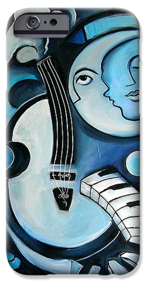 Abstract IPhone 6 Case featuring the painting Black And Bleu by Valerie Vescovi